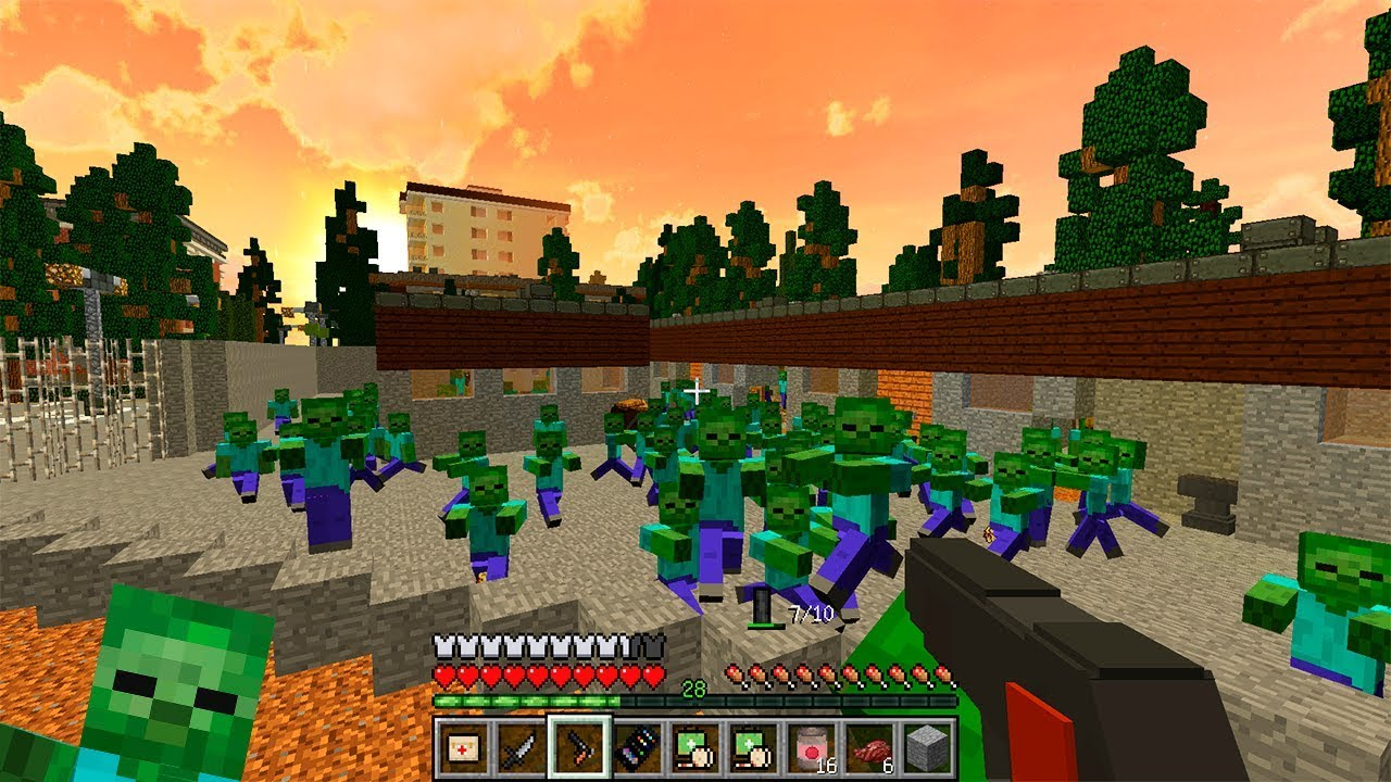 игры майнкрафт выживание в городе зомби #4