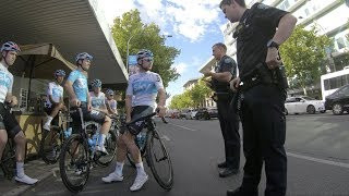 Team Sky Gets Pulled Over By Police in Adelaide For Practicing Marginal Traffic Gains (2018)
