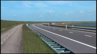 Crossing the sea by bike (Netherlands)(in HD)