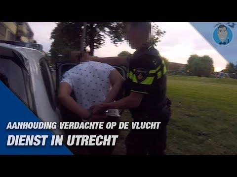 Aanhouding verdachte op de vlucht. Politie Utrecht, Overvecht.