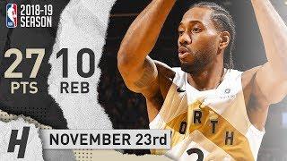 Kawhi Leonard Full Highlights Raptors vs Wizards 2018.11.23 - 27 Points, 10 Reb