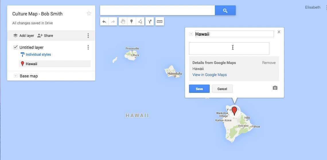 Edit Pin Text - google maps