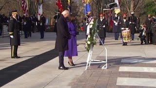 President Joe Biden and Vice President Kamala Harris at Arlington National Cemetery