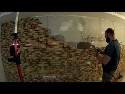 Укладка декоративного кирпича и затирка швов (12 квадратов за 4 минуты)