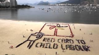 Red Card to Child Labour: Aerial art from Botafogo Beach, Rio de Janeiro