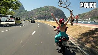Brazilian Motorcycle Police Chases   Cop Helmet Cam Brazil #3