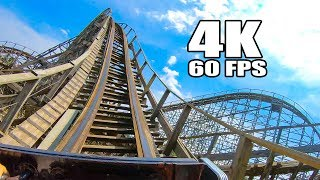 Riding Roar! Wooden Roller Coaster Front Seat 4K POV! Six Flags America
