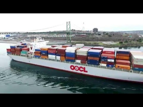 DJI Phantom 3 Aerial Video! OOCL ANTWERP Inbound into Halifax, NS (April 26, 2016)