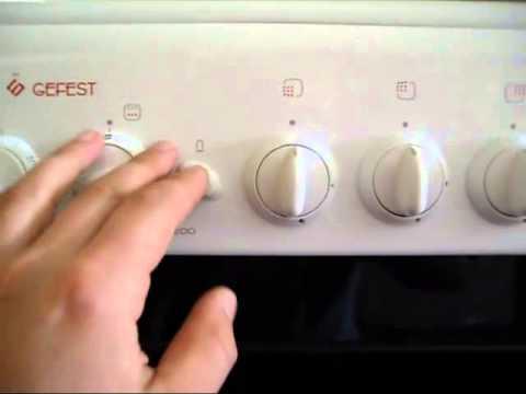 как включить духовку в газовой плите гефест