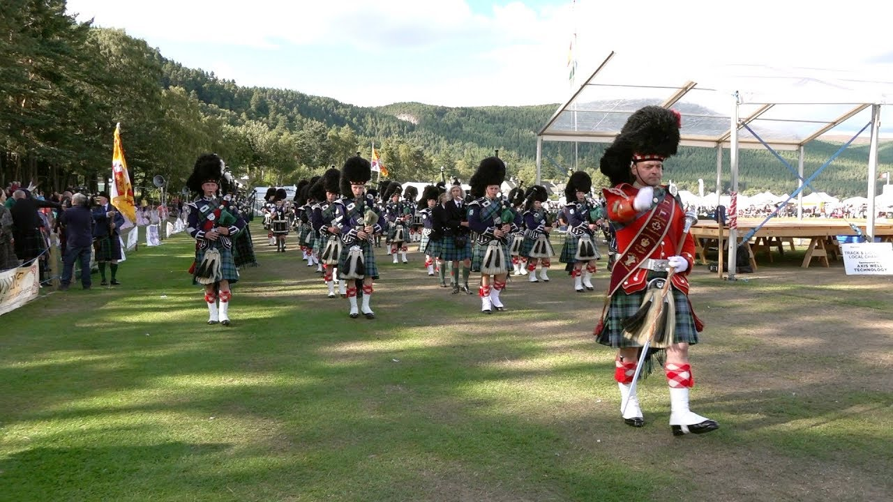 Download Massed Pipes & Drums return march after the 2018 Ballater Highland Games in Deeside, Scotland