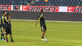 Zlatan Ibrahimovic easily wins crossbar challenge (Sweden national football team)