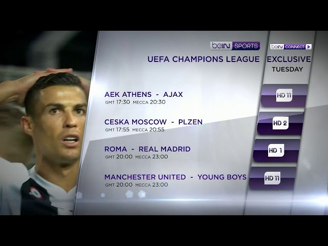 UEFA Champions League Group stage, Tuesday Live & Exclusive on beIN SPORTS