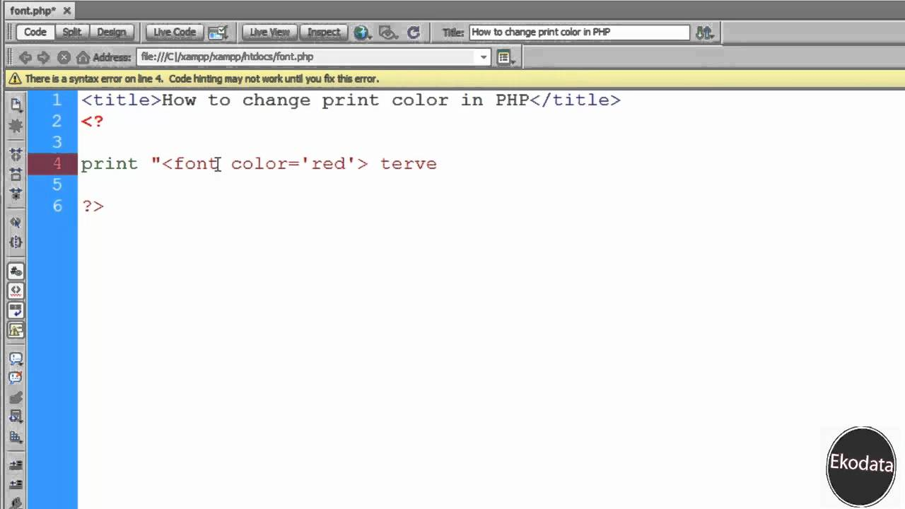 How Change Font Color In PHP HD