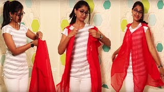 DIY No Sew| Wear Scarf/ Dupatta in Different ways | Quick & Easy way