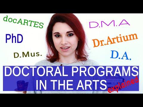 ARTISTIC DOCTORAL DEGREES EXPLAINED: PhD, DMA, DocMus, D.A., D.Artium, Artistic D.Phil, docARTES