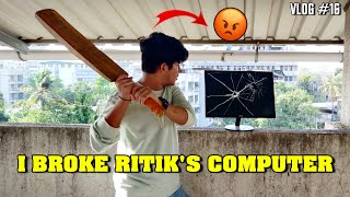 I BROKE TSG RITIK'S GAMING MONITOR || HIS ANGRY REACTION VLOG 16 TWO SIDE GAMERS