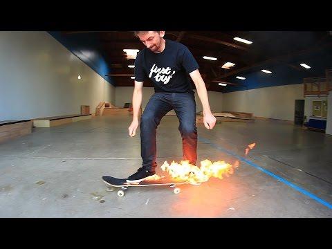 FLAMING SKATEBOARD GAME OF SKATE!
