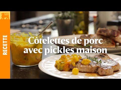 Côtelettes de porc avec pickles maison