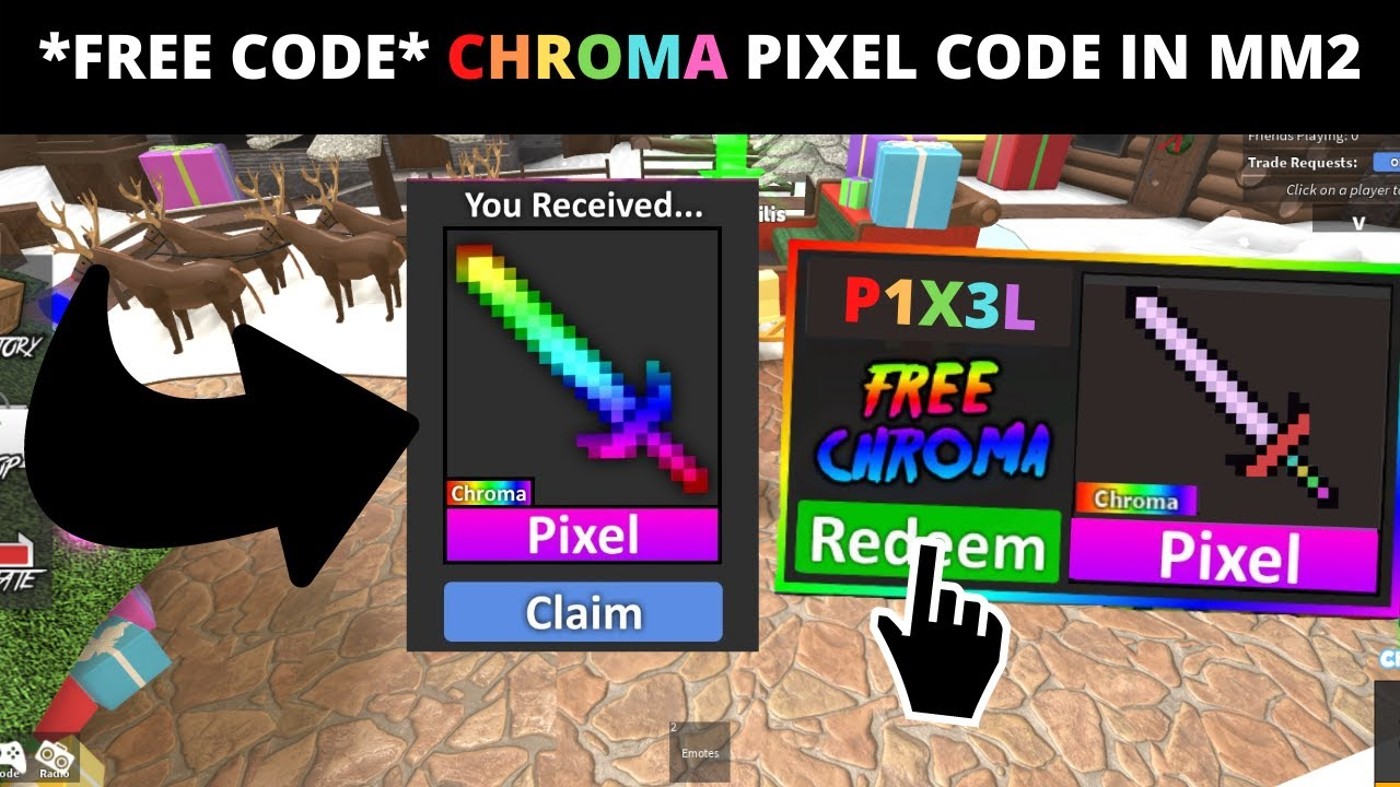 Free Code New Chroma Pixel Code In Mm2 For Christmas Free Mm2 Godly Codes Working 2021 Youtube