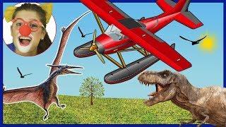 مضحك مهرج بوب ، طائرة البناء ، ديناصور تي ريكس و pterodactyl الفيديو للأطفال