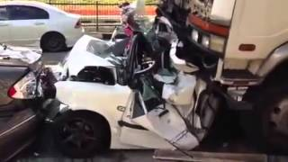 Car Crushed under Lorry -Serious Accident in Ang Mo Kio - Singapore on 6 July 2013