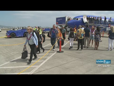 Southwest Airlines inaugural flight touches down to big Aloha welcome