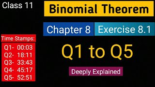 Chapter 8 Exercise 8.1 (Q1 to Q5) Binomial Theorem ||Class 11 Maths || NCERT