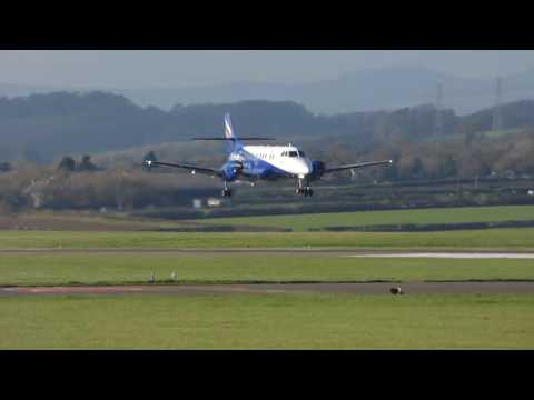Eastern airways Jetstream 41 landing at Cardiff airport on 27/10/17