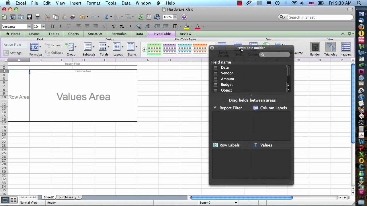 excel 2011 for mac pivot tables step 1
