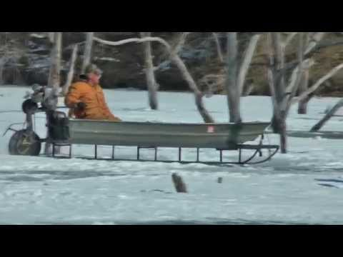 Best ever viral Ice Sled Antique mode of transportation is cool boat motor.