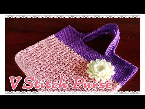 ถักกระเป๋าโครเชต์ V-Stitch Part 1/2 (Crochet V-Stitch Purse)