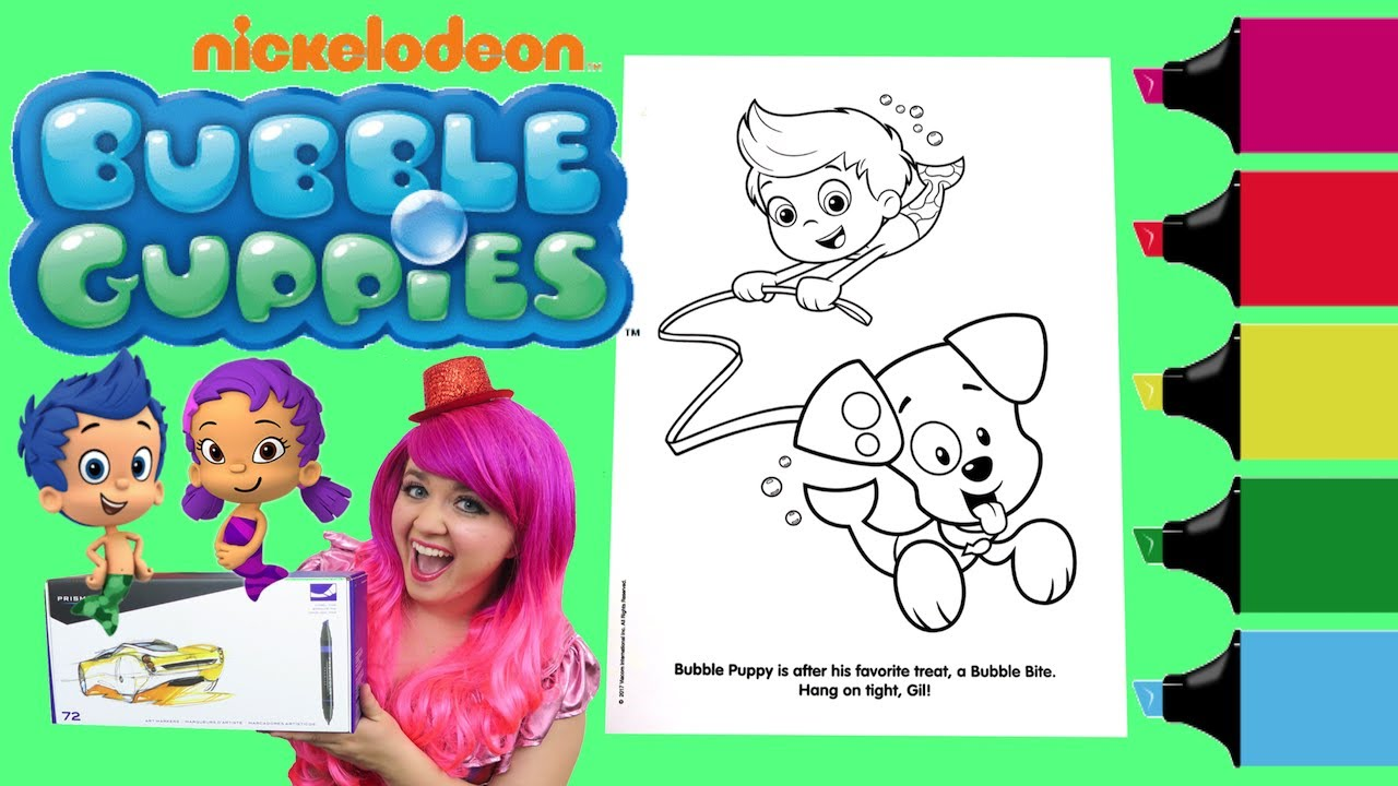 Coloring Bubble Guppies Puppy & Gil Coloring Book Page Colored Markers  Prismacolor  KiMMi THE CLOWN