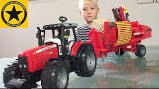 BRUDER Toys TRACTOR For CHILDREN Massey Ferguson Unboxing By Jack (4)