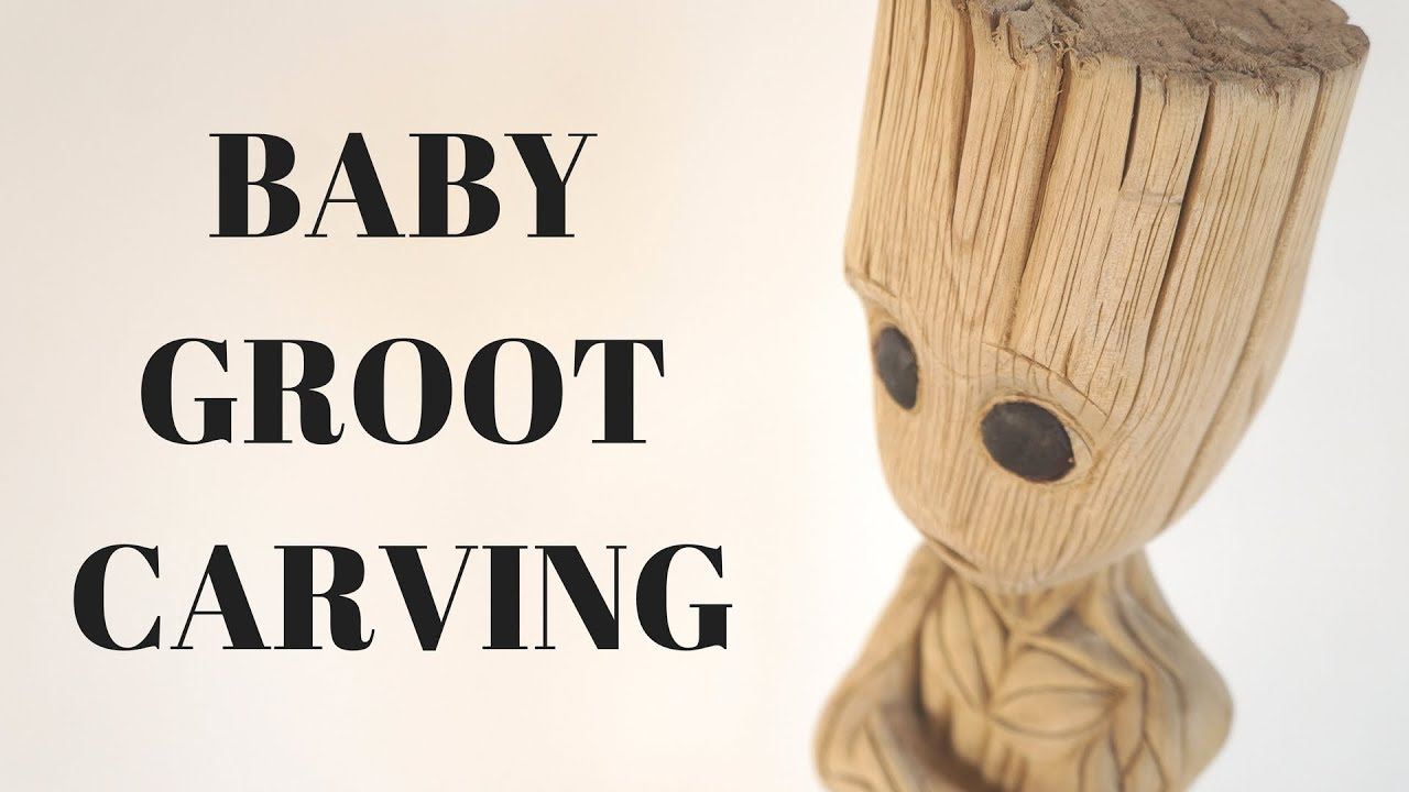 Baby Groot Carving From Catalpa Tree