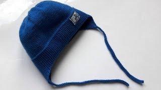 Детская шапочка с ушками спицами ( интересный способ вязания ушек)