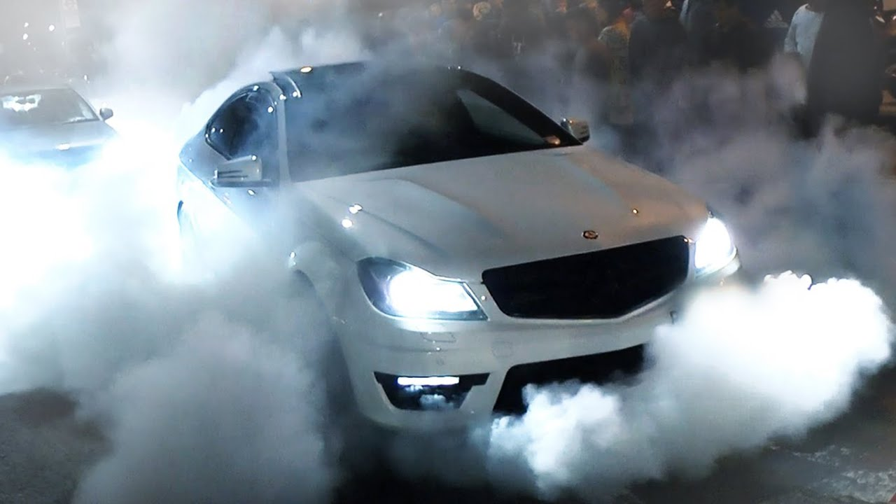 Mercedes C63 Amg Burnout And Flames Youtube