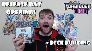 Release Day Forbidden Light Booster Box Opening! (And Pokemon Deck Building)
