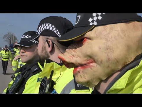 ANTI FRACKING PNR Lancashire BEZ Happy Mondays #WeSaidNo Cuadrilla POLICE