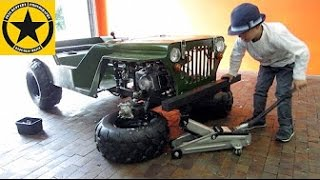 Little Boy(3) assembles and drives WILLYS JEEP! Children JEEP gasoline powered