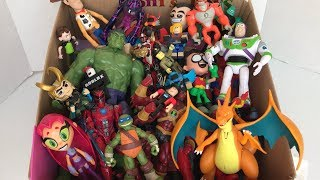 Box of Toys With Names Charizard Starfire Loki Hulk TMNT Roblox