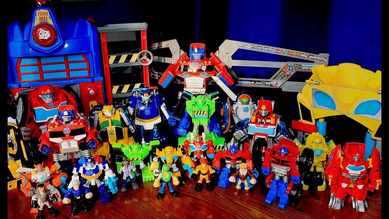 Massive Collection Transformers Rescue Bots Toys Close