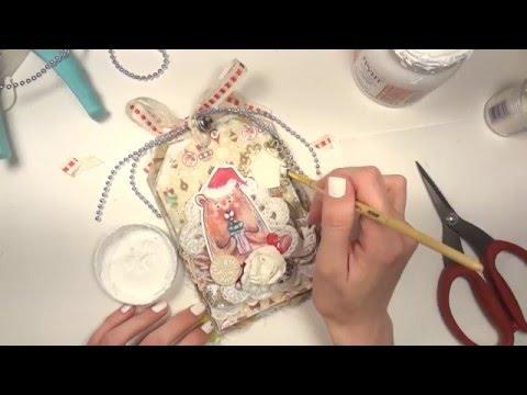 видео: Новогодняя открытка-тег - Скрапбукинг мастер-класс / aida handmade