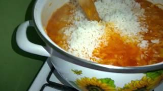 Зимний салат с рисом.