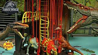 New 3 Jurassic World Action Figures Minmi, Protoceratops, Stiggy Unboxing Slimed Lava Surge Playset