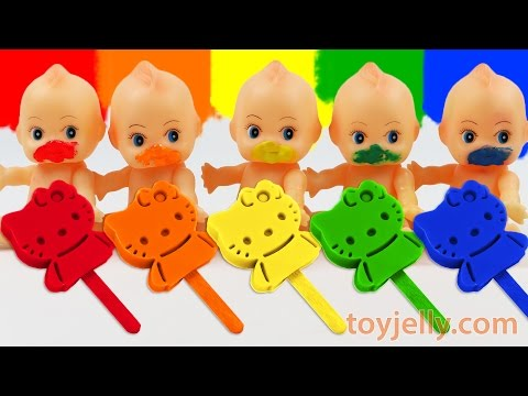Learn Colors Play Doh Rainbow Hello Kitty Popsicles Ice Cream Paint Baby Doll Finger Family Song