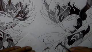 DIBUJANDO A HYPNOS Y THANATOS - DRAWING HYPNOS AND THANATOS - SAINT SEIYA
