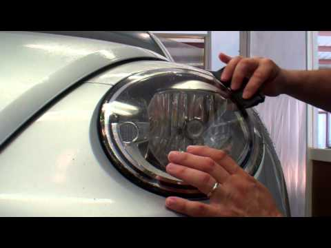Auto Shield Columbia performs a Paint Protection Film install on a 2014 Volkswagen Beetle headlamp.