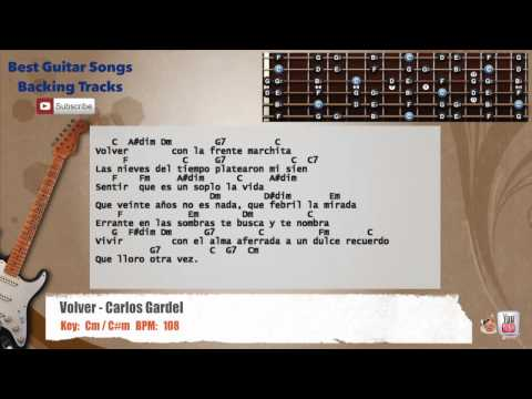 Volver - Carlos Gardel Guitar Backing Track with scale, chords and lyrics