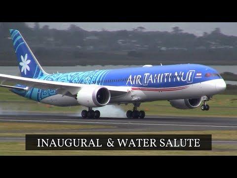 INAUGURAL and WATER SALUTE Air Tahiti Nui Dreamliner ✈ Auckland Airport