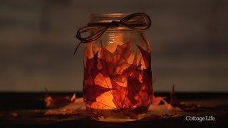 DIY Fall Leaves Mason Jar Candle Holder
